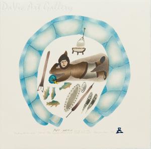 'Hunter Carrying Child' by Davidee Akpalialuk - Inuit - Pangnirtung 1996