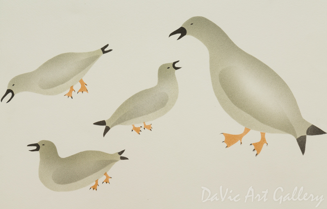 'Family Gathering of Birds' by Enookie Akulukjuk - Inuit - Pangnirtung 1994