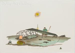 'Qammaq and Kayak' by Simon Shaimaiyuk 1994 - Inuit - Pangnirtung