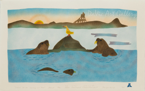 'Walrus at the Hauling-out Place' by Simon Shaimaiyuk 1994 - Inuit - Pangnirtung