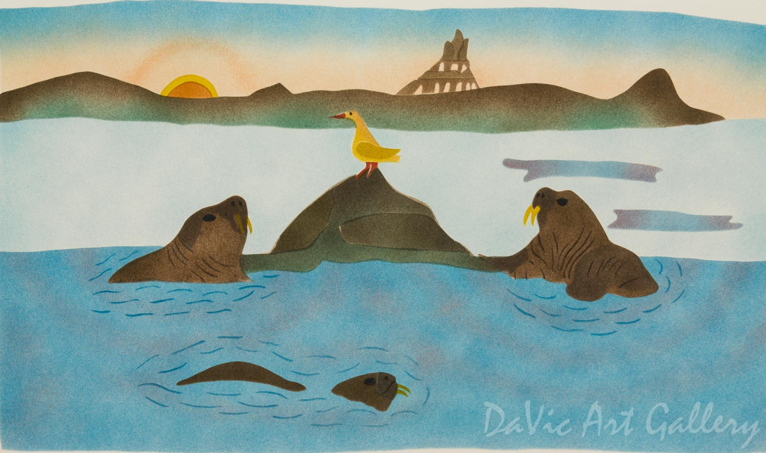 'Walrus at the Hauling-out Place' by Simon Shaimaiyuk 1994 - Inuit - Pangnirtung