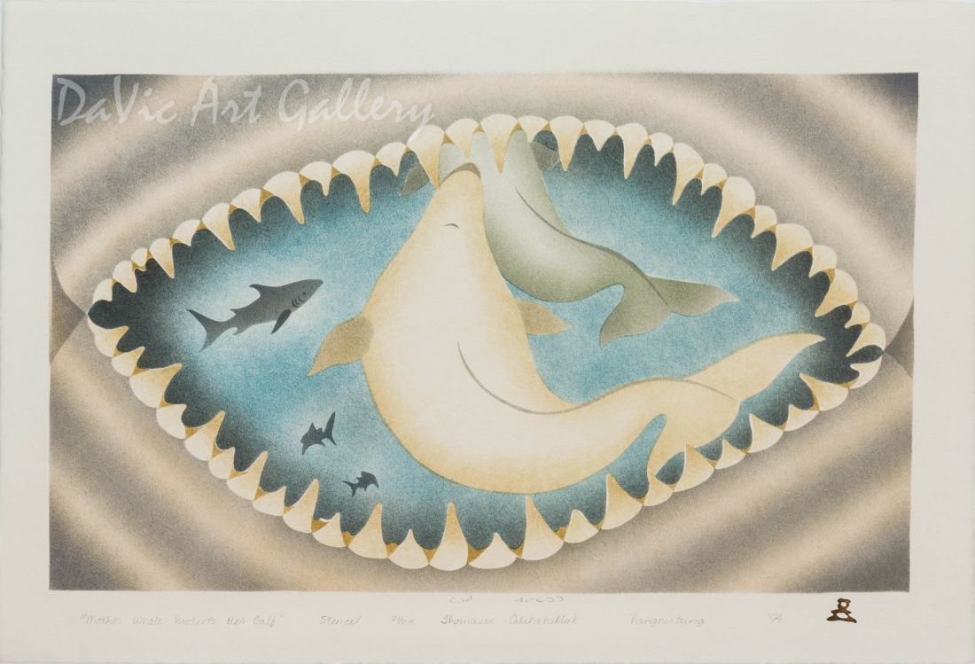 'Mother Whale Protects Her Calf' by Thomasie Alikatuktuk 1994 - Inuit - Pangnirtung