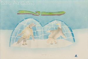 'Raven and Seagull' by Towkie Qarpik 1994 - Inuit - Pangnirtung