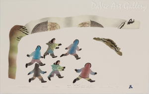 'The Wolf Game' by Annie Kilabuk - Inuit Art - Pangnirtung 1995