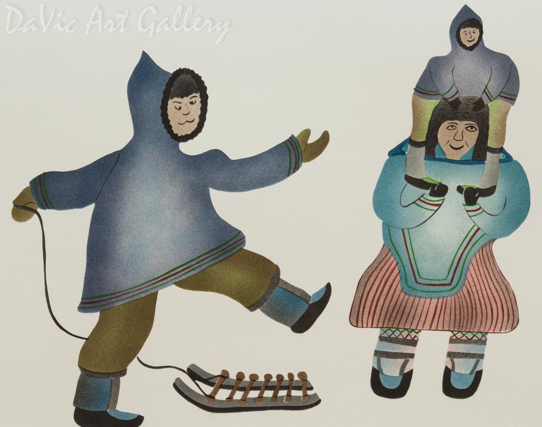 'Going for a Walk' by Davidee Akpalialuk - Inuit - Pangnirtung 1995