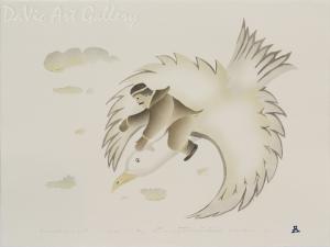 'Transported by His Spirit' by Thomasie Alikatuktuk 1995 - Inuit - Pangnirtung