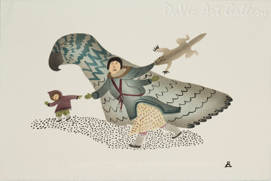 'The Dream' by Towkie Qarpik 1995 - Inuit - Pangnirtung