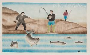 'Fishing at Ingalik' by Andrew Qappik, RCA - Inuit Art - Pangnirtung 1996