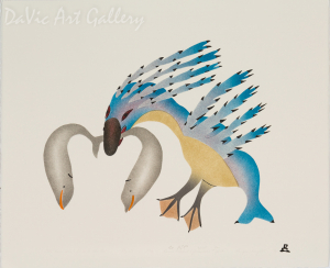 'The Bird That Lives in the Sea' by Annie Kilabuk - Inuit Art - Pangnirtung 1996