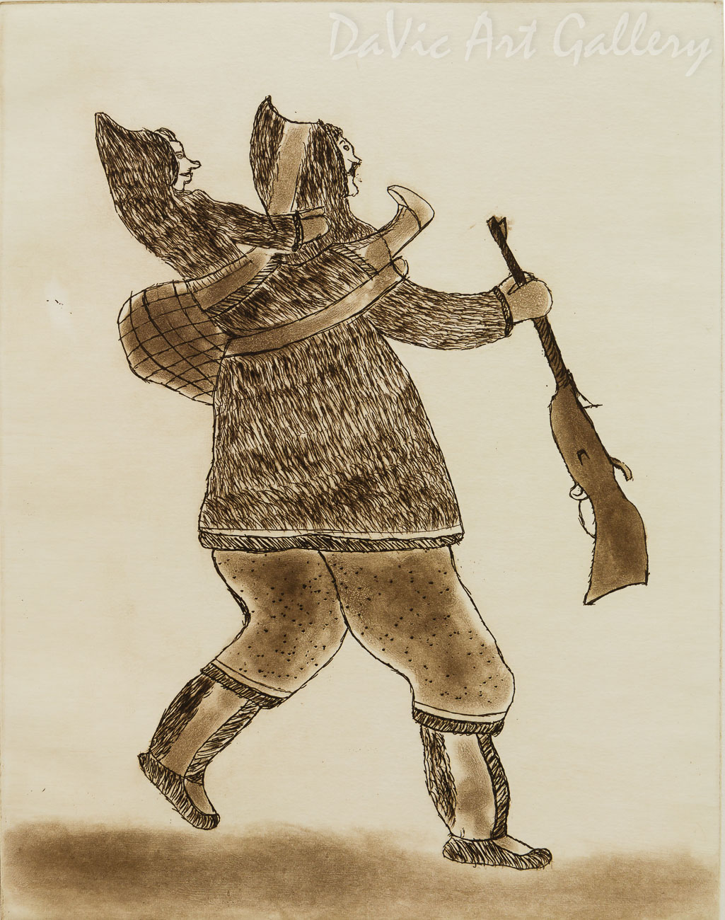 'Hunter Carrying Child' by Davidee Akpalialuk - Inuit - Pangnirtung 1996