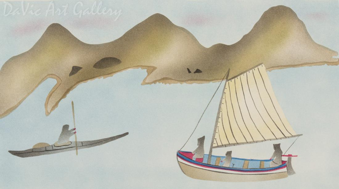 'Hunting by Boat Near Uttuusivik' by Elisapee Ishulutaq, OC - Inuit - Pangnirtung 1996