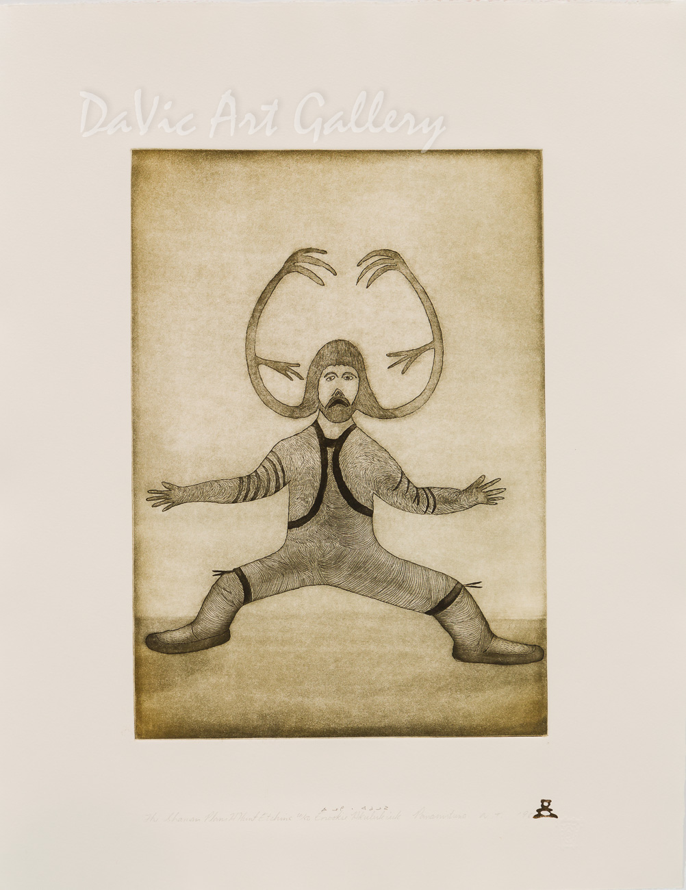 'The Shaman Plans a Hunt' by Enookie Akulukjuk - Inuit - Pangnirtung 1996