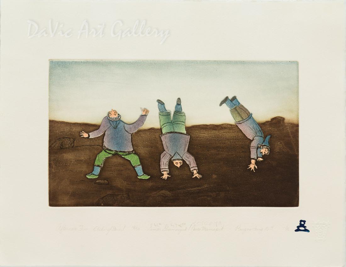 'Afternoon Fun' by Simon Shaimaiyuk 1996 - Inuit - Pangnirtung