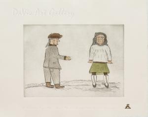 'The Bishop Greets Imaqi's Mother' by Simon Shaimaiyuk 1996 - Inuit - Pangnirtung