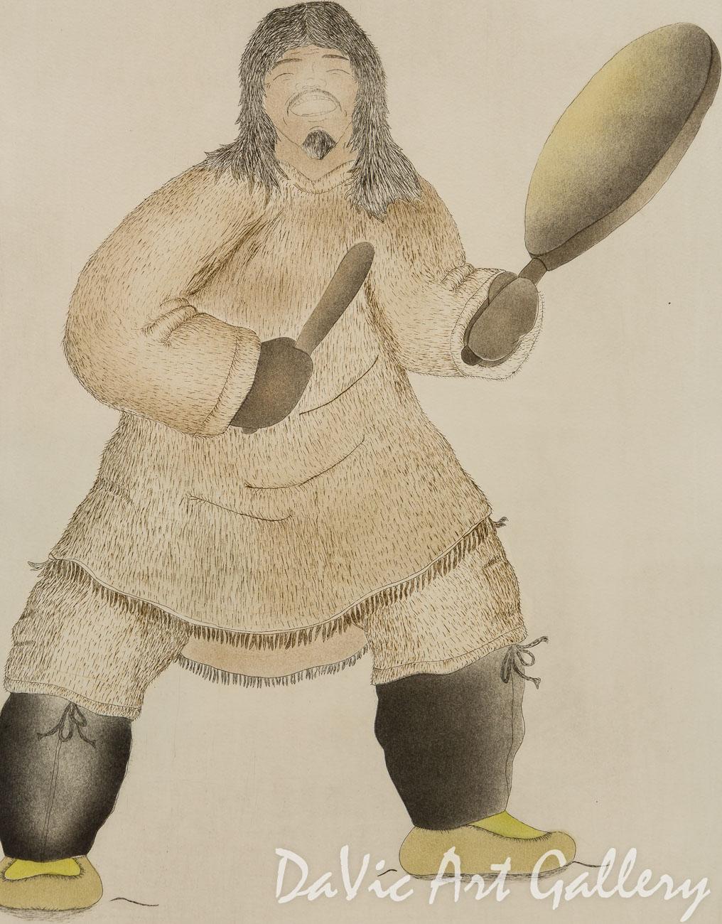 'Drum Dancer' by Noah Maniapik - Inuit - Pangnirtung 1997