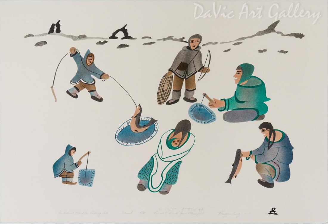 'Inuksuit Mark Our Fishing Lake' by Annie Kilabuk - Inuit - Pangnirtung 1998
