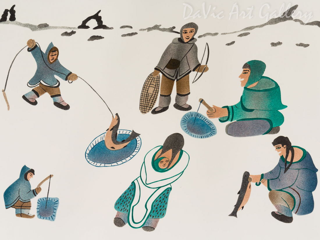 'Inuksuit Mark Our Fishing Lake' by Annie Kilabuk - Inuit - Pangnirtung 1998