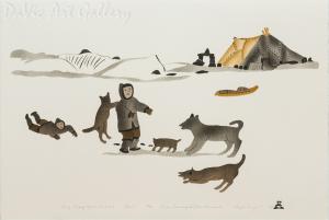 'Spring Camping by the Inukshuk' by Simon Shaimaiyuk 1998 - Inuit - Pangnirtung