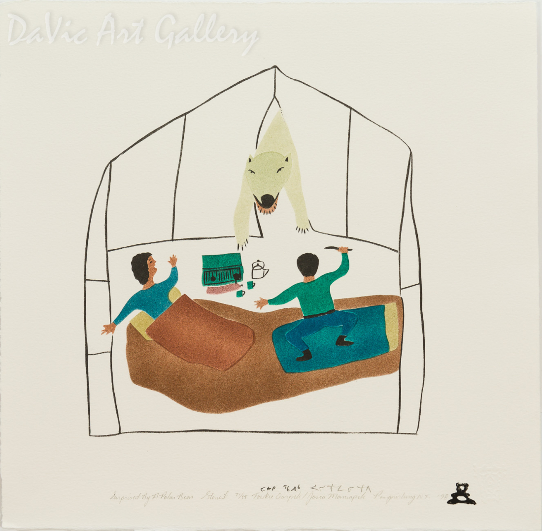 'Surprised by a Polar Bear' by Towkie Qarpik 1998 - Inuit - Pangnirtung