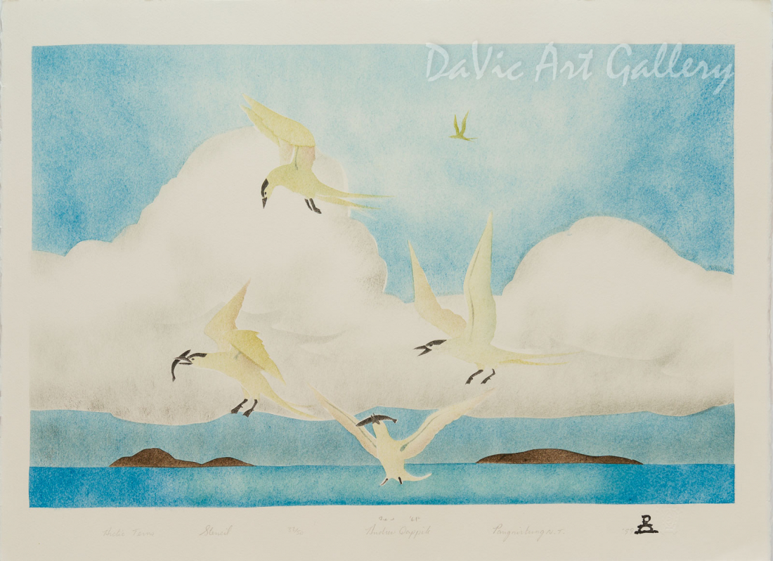 'Arctic Terns' by Andrew Qappik, RCA - Inuit Art - Pangnirtung 1999