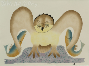 'Fish For Her Young' by Annie Kilabuk - Inuit - Pangnirtung 1999
