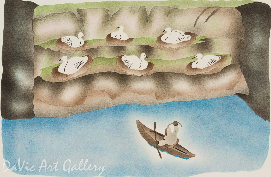 'Hoping to Gather Eggs' by Annie Kilabuk - Inuit - Pangnirtung 1999