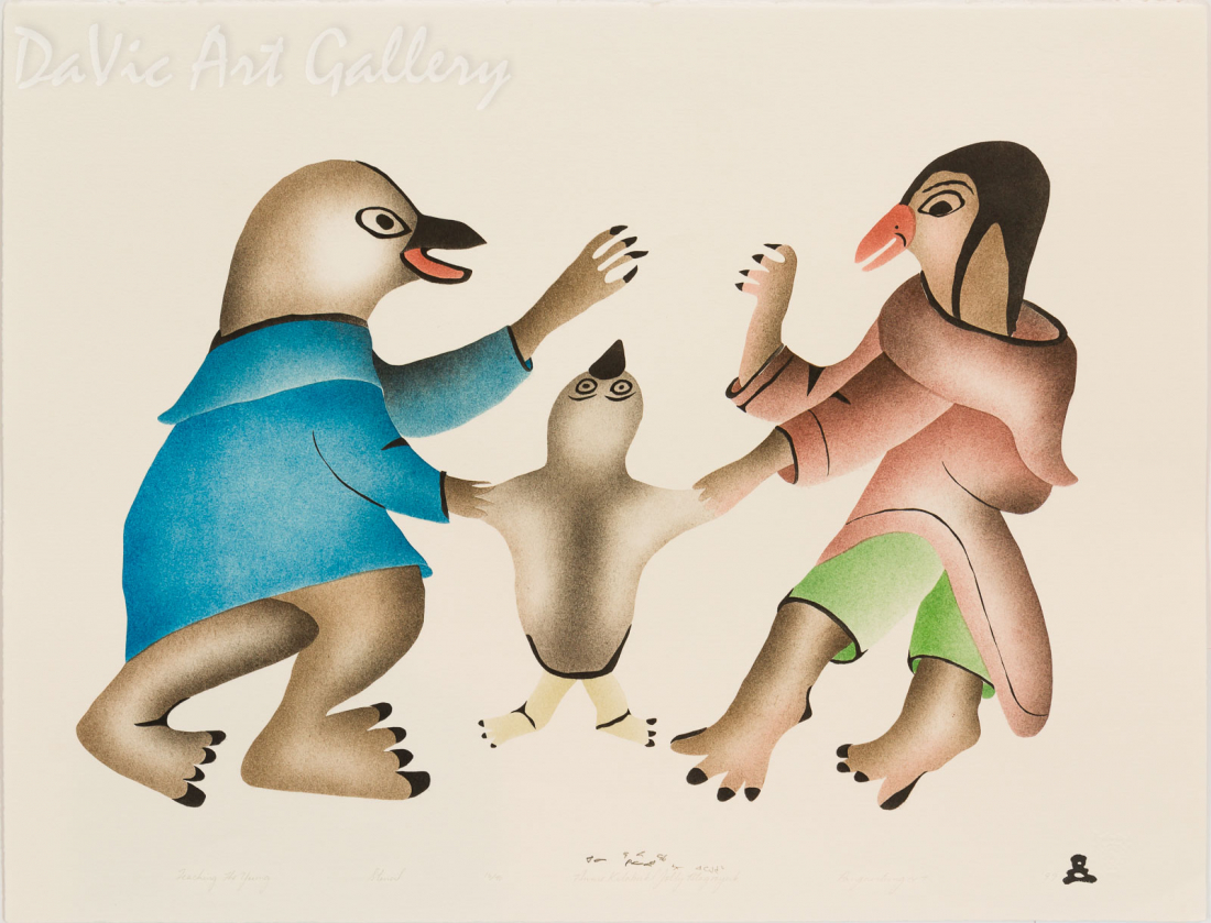 'Teaching The Young' by Annie Kilabuk - Inuit - Pangnirtung 1999