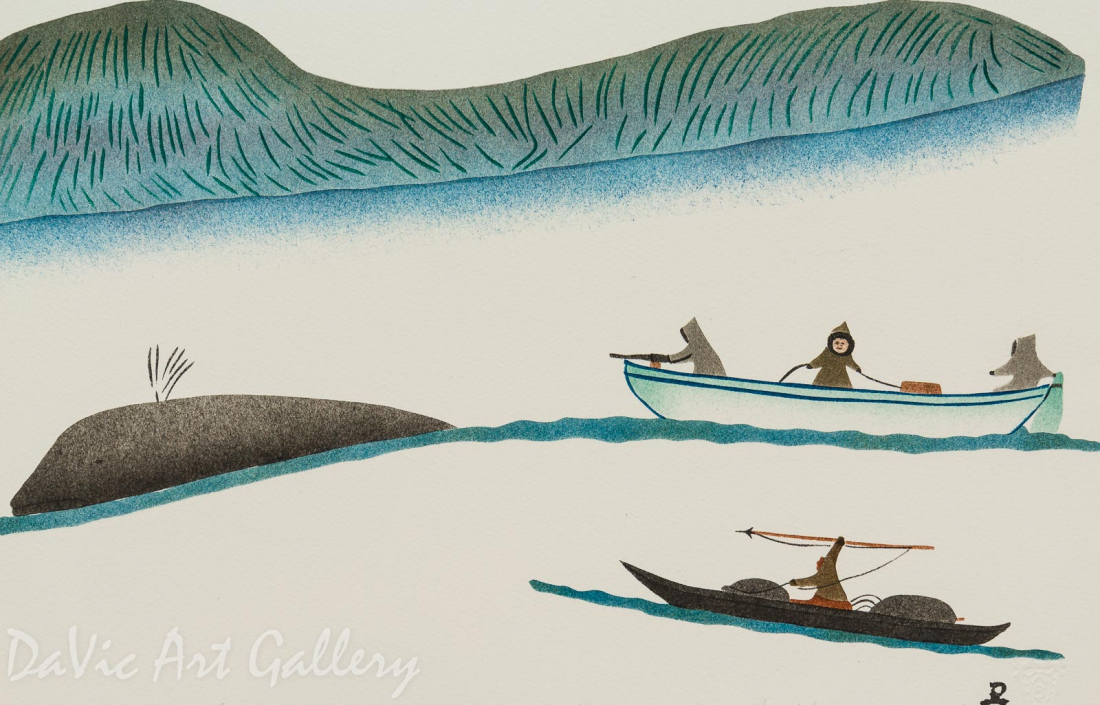 'Chasing a Bowhead Whale' by Elisapee Ishulutaq, OC - Inuit - Pangnirtung 1999
