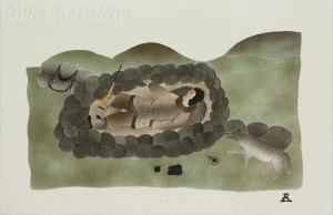 'Sleeping Caribou Hunter' by Ida Karpik - Inuit - Pangnirtung 1999