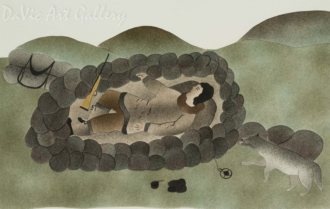 'Sleeping Caribou Hunter' by Ida Karpik - Inuit - Pangnirtung 1999