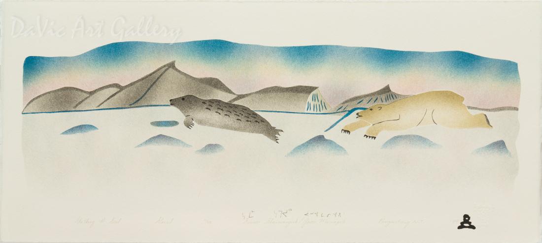'Stalking a Seal' by Simon Shaimaiyuk 1999 - Inuit - Pangnirtung
