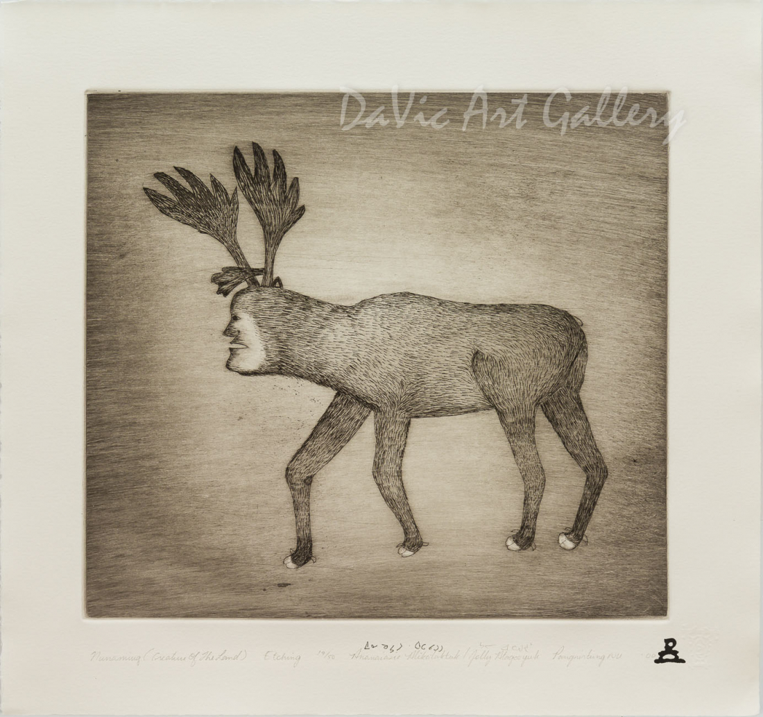 'Nunamiuq (Creature of the Land)' by Ananaisie Alikatuktuk - Inuit Art - Pangnirtung 2000