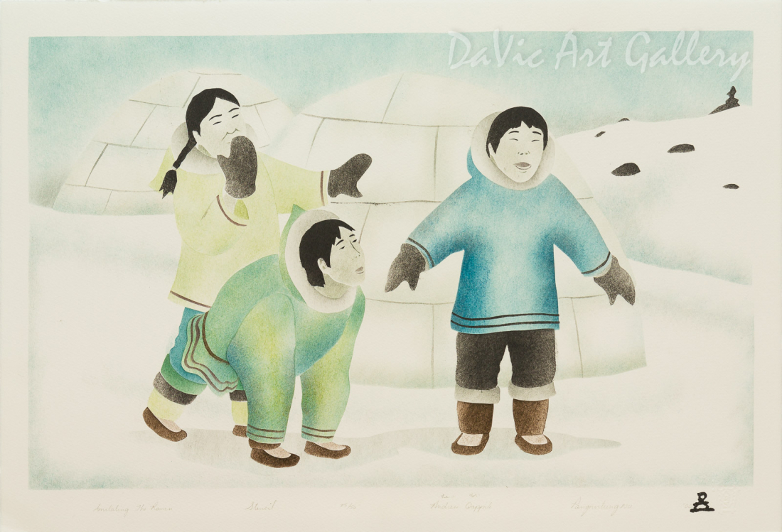 'Imitating the Raven' by Andrew Qappik, RCA - Inuit Art - Pangnirtung 2000