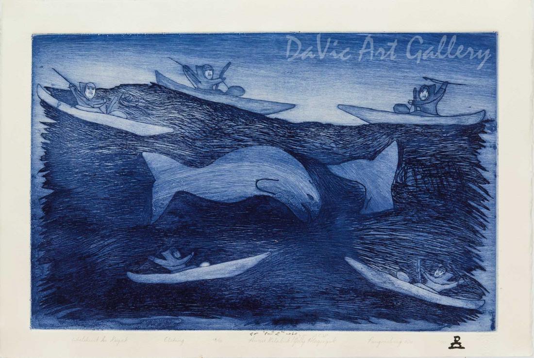 'Whalehunt in Kayak' by Annie Kilabuk - Inuit - Pangnirtung 2000