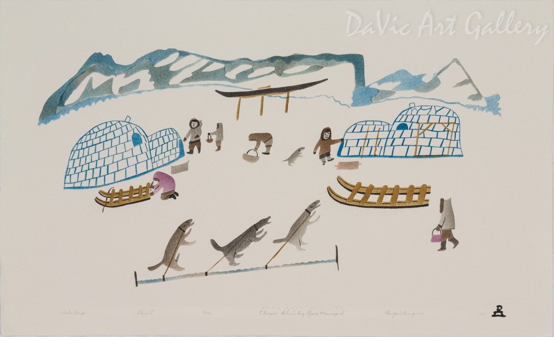 'Winter Camp' by Elisapee Ishulutaq, OC - Inuit - Pangnirtung 2000