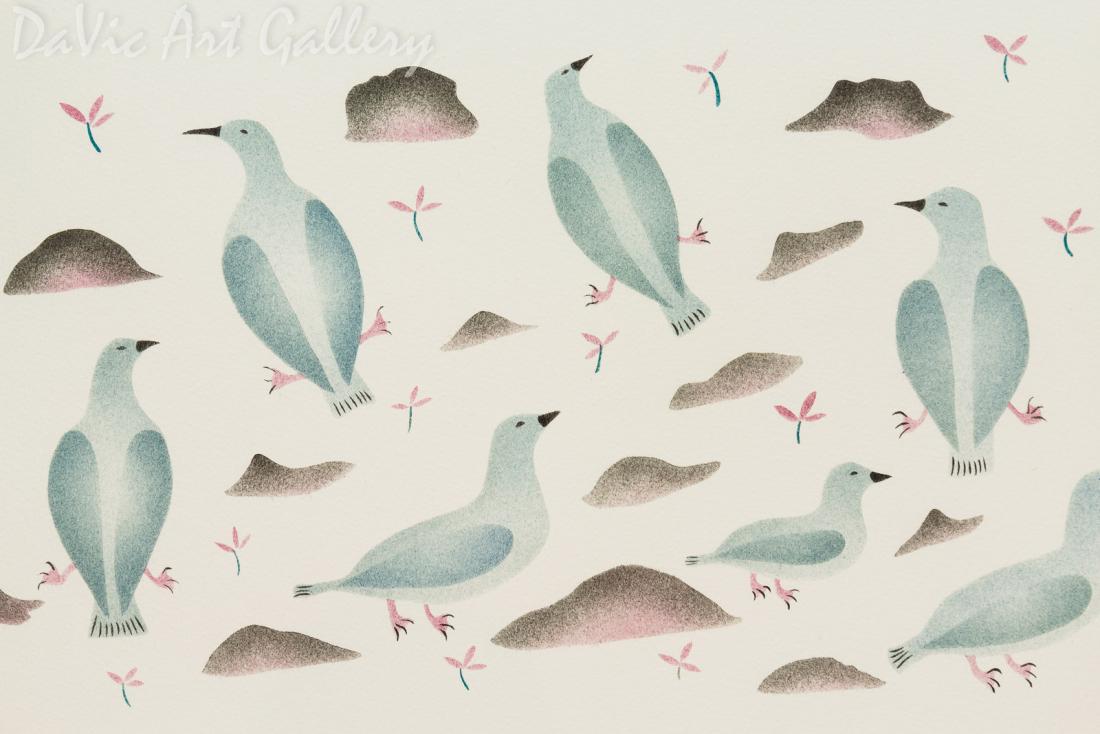 'Ptarmigan in Spring' by Enookie Akulukjuk - Inuit - Pangnirtung 2000