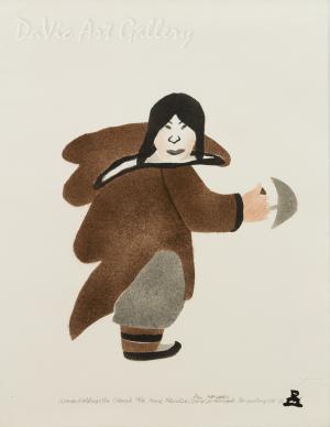 'Woman Holding Ulu' by Annie Pitsiulak - Inuit - Pangnirtung 2001