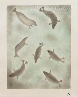 'Gathering of Seals' by Enookie Akulukjuk - Inuit - Pangnirtung 2001