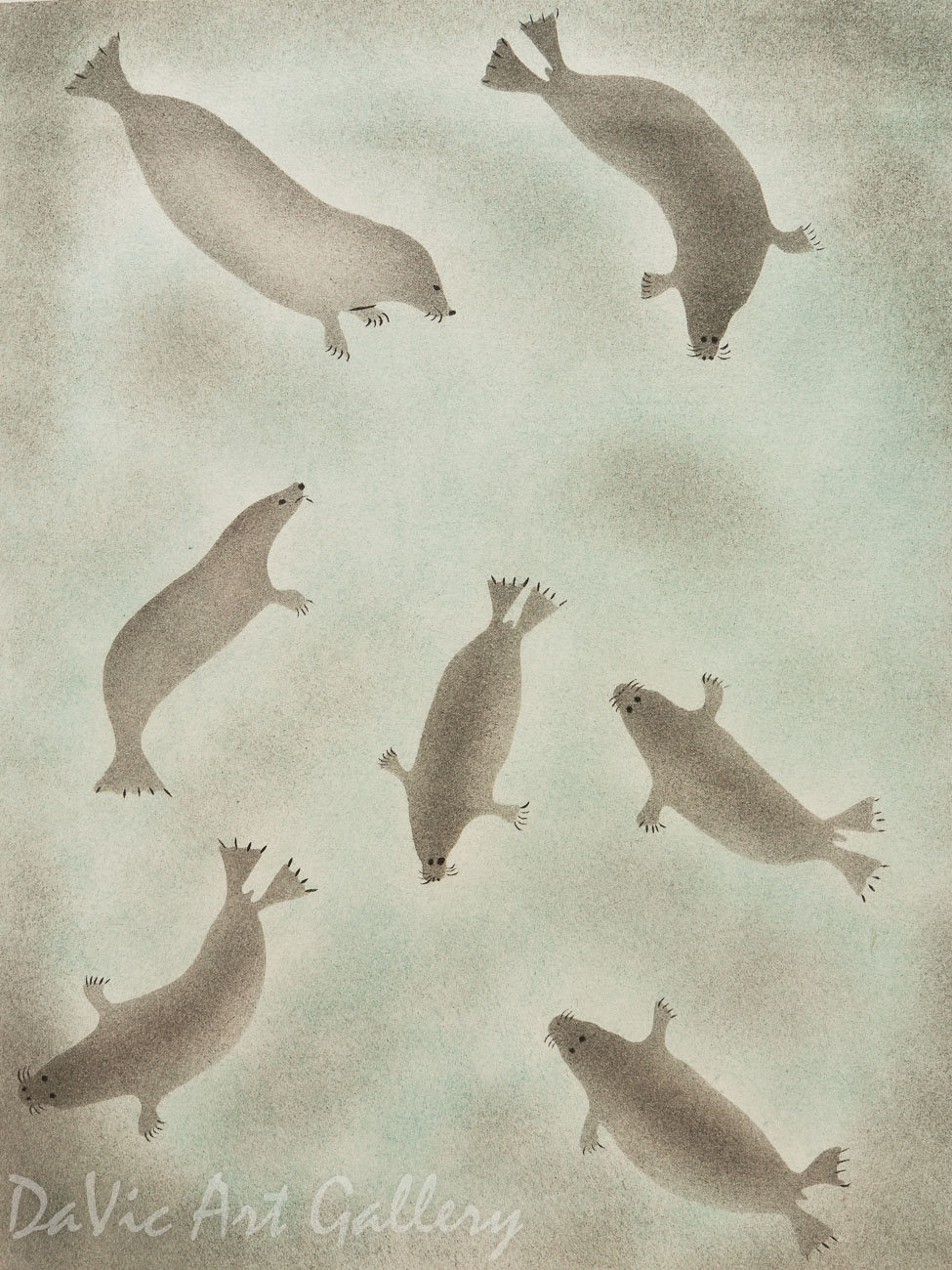 'Gathering of Seals' by Enookie Akulukjuk - Inuit - Pangnirtung 2001