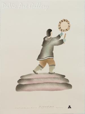 'Old Inuit Tradition (Drum Dancer)' by Ida Karpik - Inuit - Pangnirtung 2001