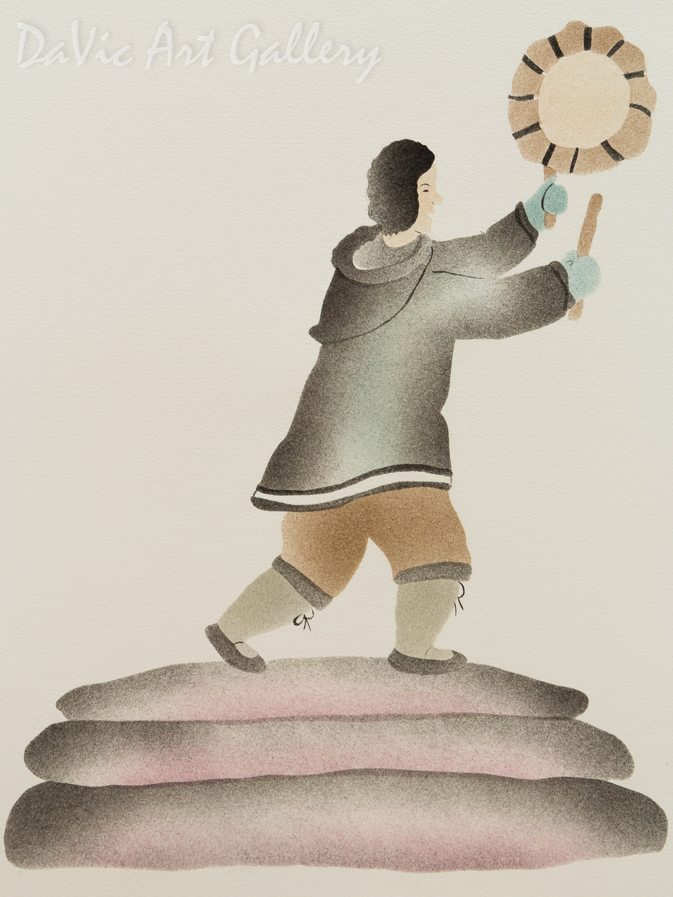 'Old Inuit Tradition (Drum Dancer)' by Ida Karpik - Inuit - Pangnirtung 2001