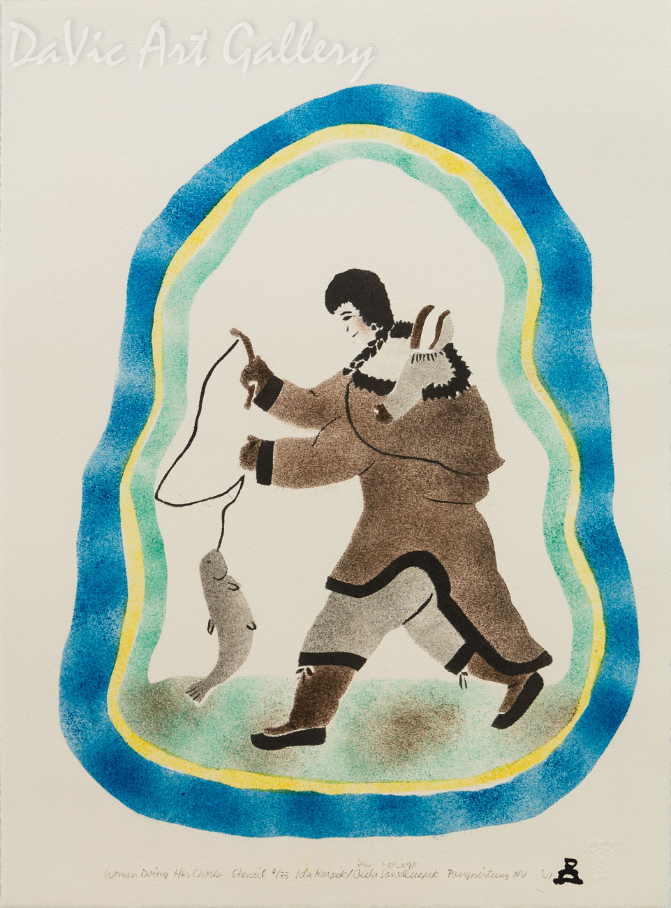'Woman Doing Her Chores' by Ida Karpik - Inuit - Pangnirtung 2001