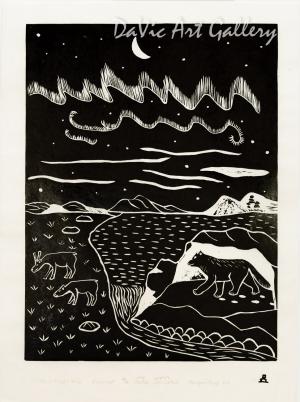 'Northern Night Life' by Leetia Alivaktuk - Inuit - Pangnirtung 2001