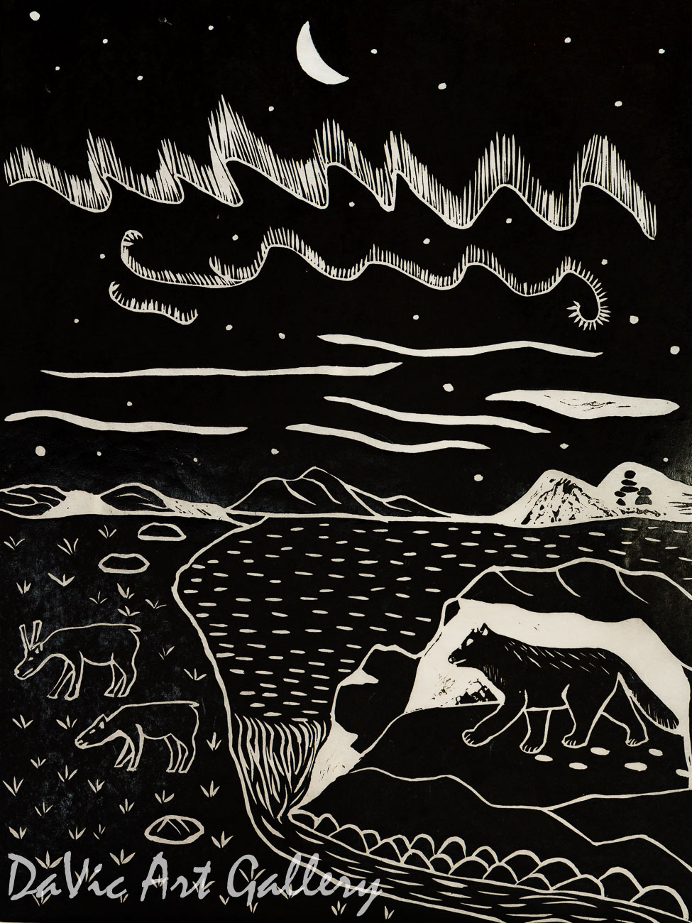 'Northern Night Life' by Leetia Alivaktuk - Inuit - Pangnirtung 2001