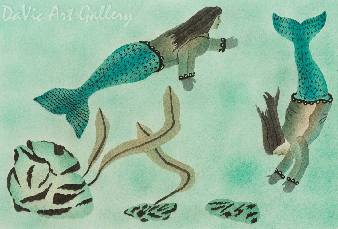 'Sea Sisters' by Peter Kilabuk - Inuit - Pangnirtung 2001