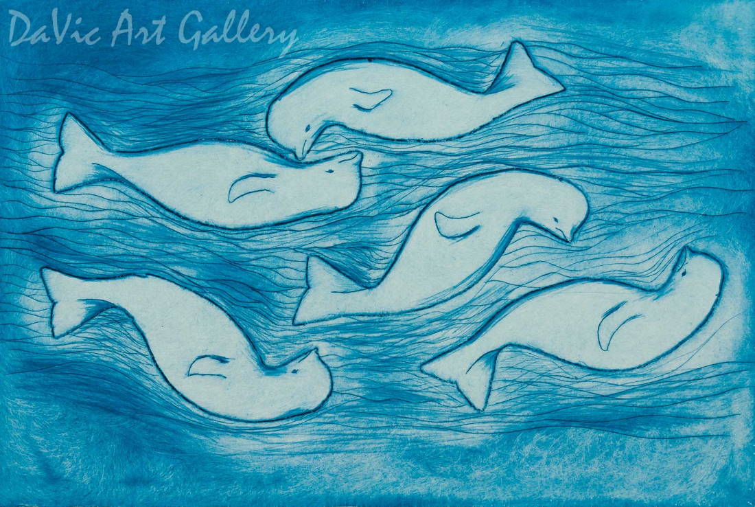 'Many Whales' by Towkie Qarpik 2002 - Inuit - Pangnirtung