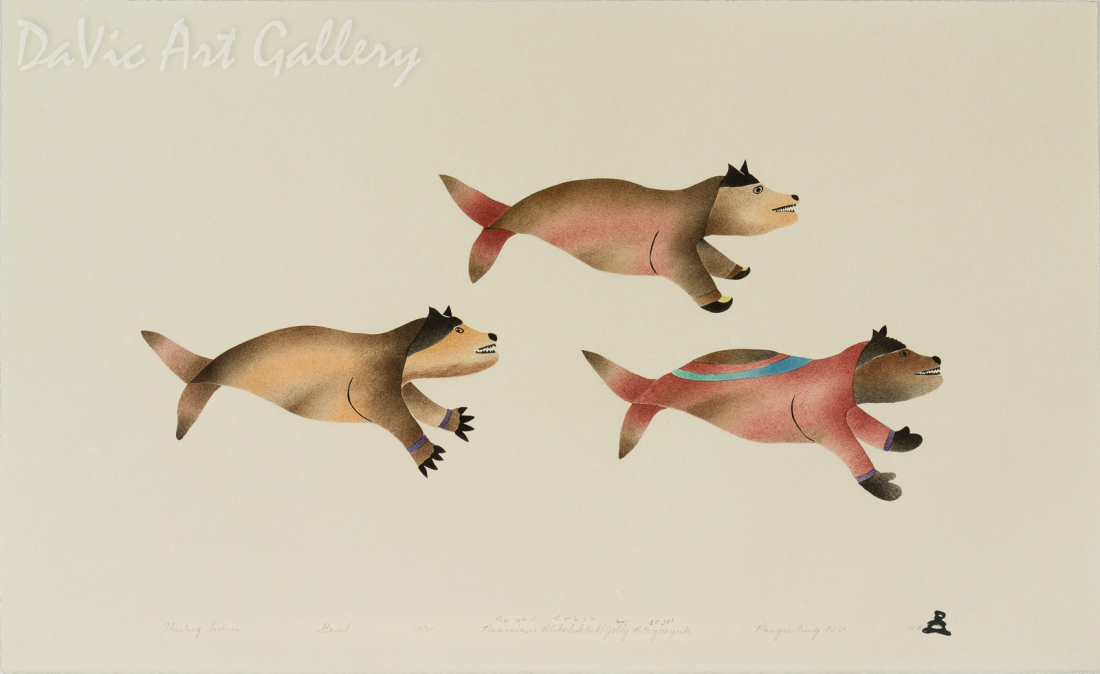 'Hunting Sednas' by Ananaisie Alikatuktuk - Inuit Art - Pangnirtung 2002
