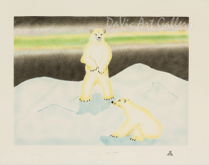 'Polar Bears' by Andrew Qappik, RCA - Inuit Art - Pangnirtung 2002