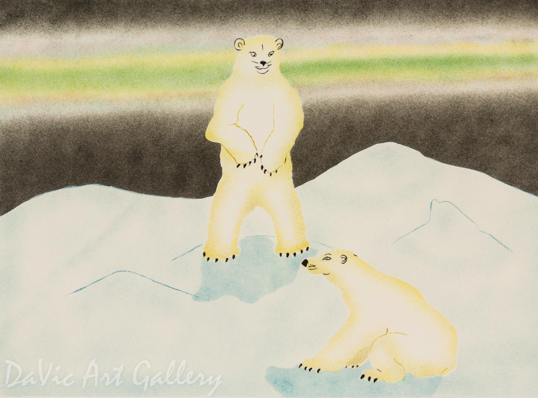 'Polar Bears' by Andrew Qappik, RCA - Inuit Art - Pangnirtung 2002