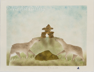 'Two Caribou by the Inukshuk' by Ida Karpik - Inuit - Pangnirtung 2002